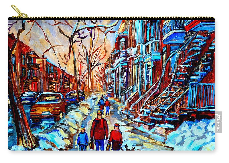 Montreal Carry-all Pouch featuring the painting Mile End Montreal Neighborhoods by Carole Spandau