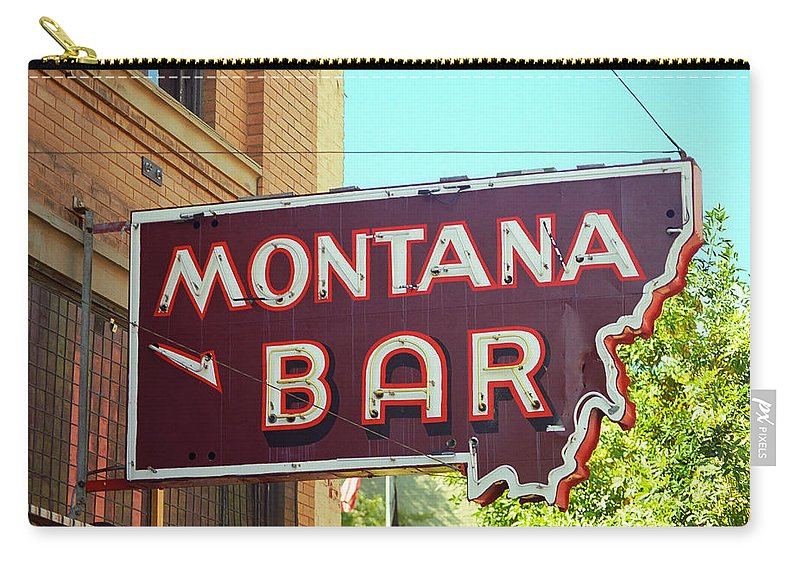 America Carry-all Pouch featuring the photograph Miles City, Montana - Bar Neon by Frank Romeo