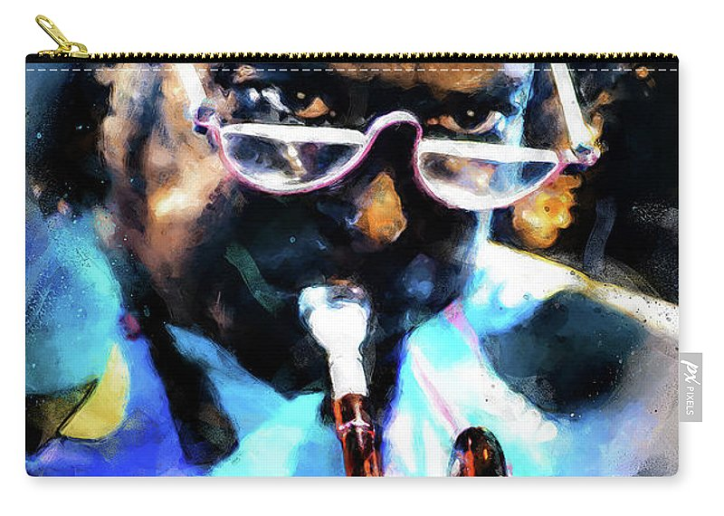 Miles Carry-all Pouch featuring the painting Miles Davis - 10 by Andrea Mazzocchetti