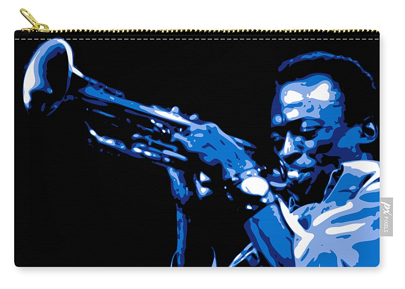 Miles Davis Carry-all Pouch featuring the digital art Miles Davis by DB Artist