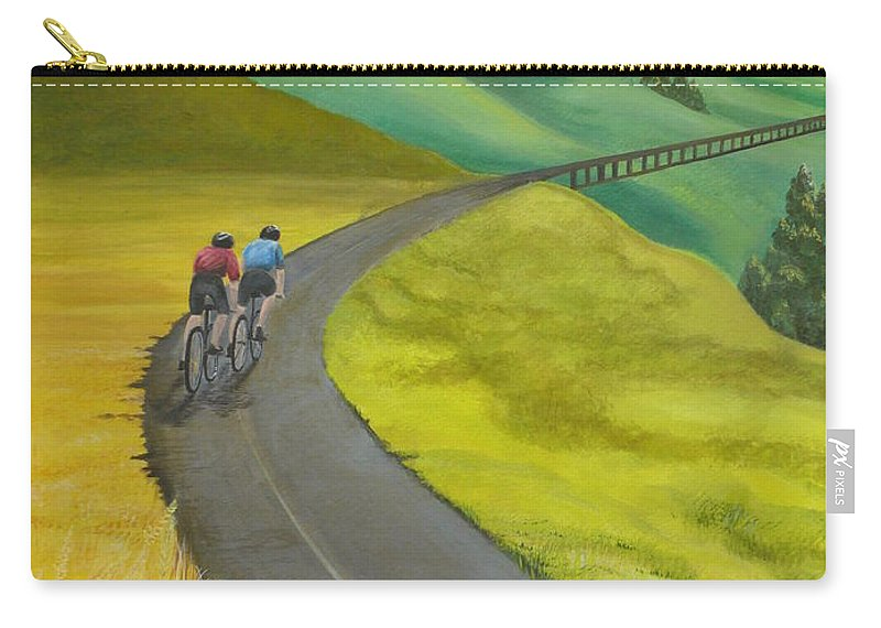 Bicycles Carry-all Pouch featuring the painting Miles To Go by Kris Crollard