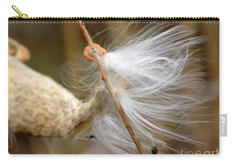 Asclepias Syriaca Carry-all Pouch featuring the photograph Milkweed Feathers by William Tasker