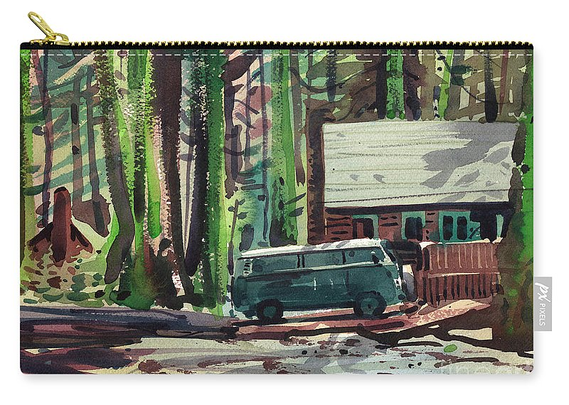 Mill Creek Carry-all Pouch featuring the painting Mill Creek Camp by Donald Maier