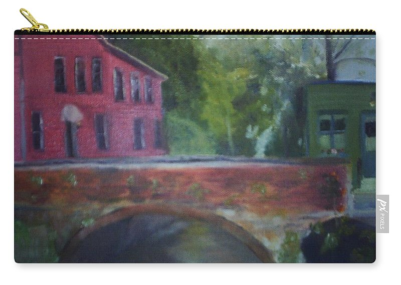 Mill Street Carry-all Pouch featuring the painting Mill Street Plein Aire by Sheila Mashaw