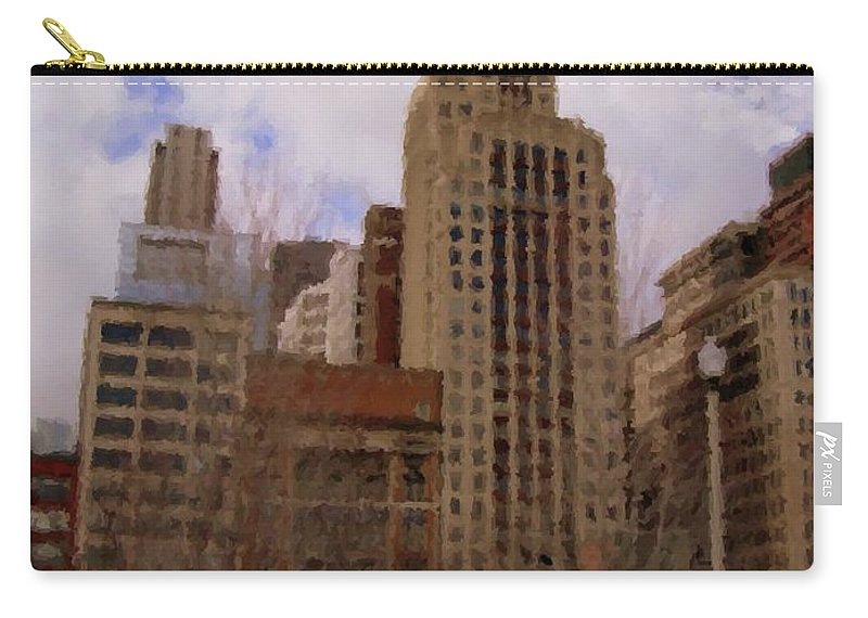 Chicago Carry-all Pouch featuring the digital art Millenium Park And Bench 1 by Anita Burgermeister