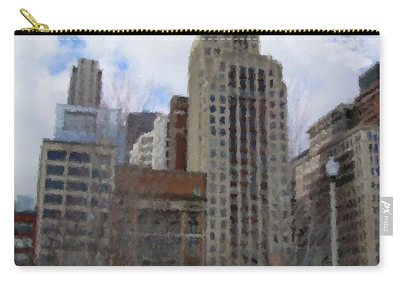 Chicago Carry-all Pouch featuring the digital art Millenium Park And Bench 2 by Anita Burgermeister