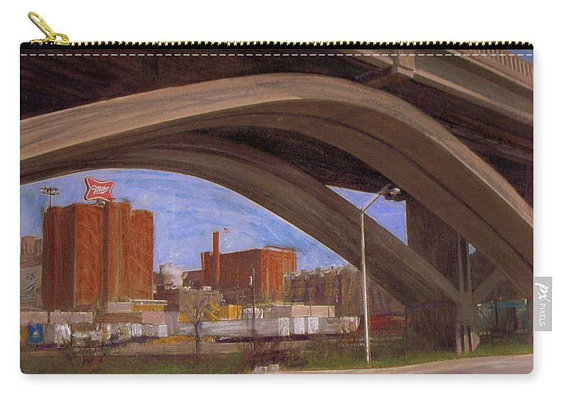 Mixed Media Carry-all Pouch featuring the mixed media Miller Brewery Viewed Under Bridge by Anita Burgermeister