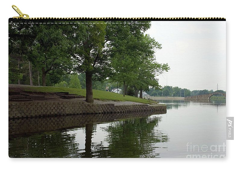 Backgrounds Carry-all Pouch featuring the photograph Miller Park Lake by Alan Look