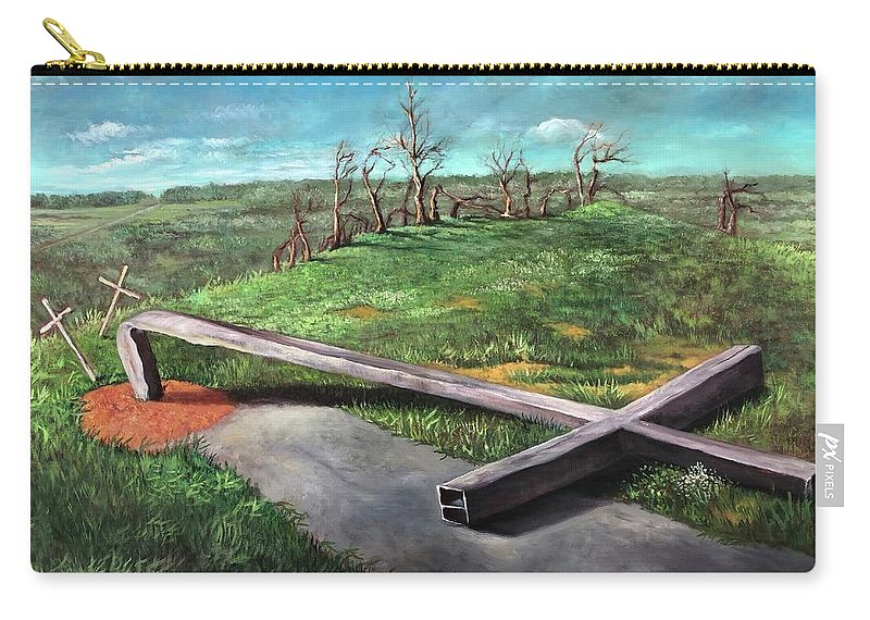 Cross Carry-all Pouch featuring the painting Millsfield Tennessee Steel Cross by Randy Burns
