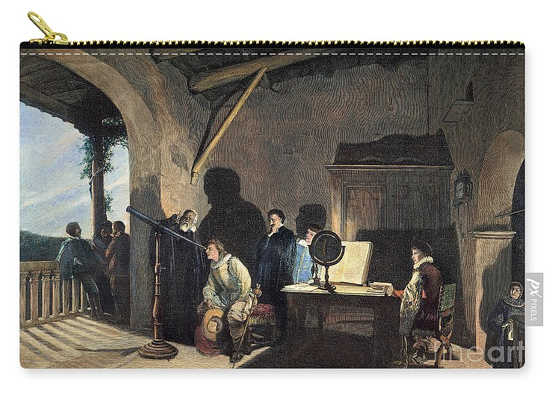 1638 Carry-all Pouch featuring the photograph Milton Visiting Galileo by Granger