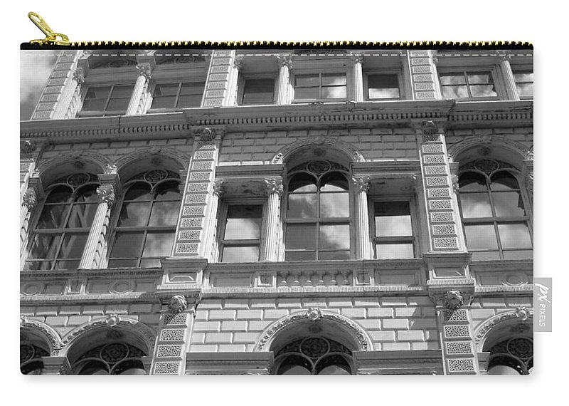 Milwaukee Carry-all Pouch featuring the photograph Milwaukee Cloud Reflections Bw by Anita Burgermeister