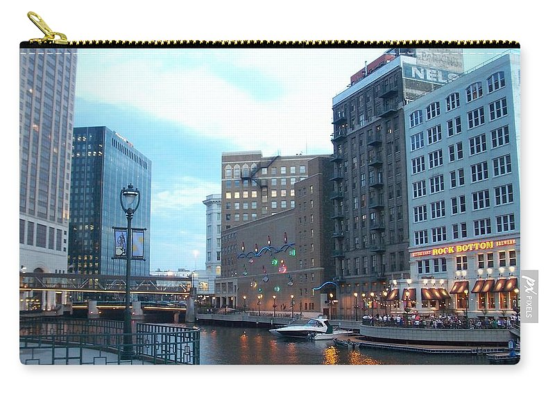 Milwaukee Carry-all Pouch featuring the photograph Milwaukee River Walk by Anita Burgermeister