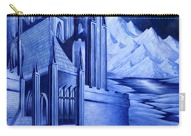 Lord Of The Rings Carry-all Pouch featuring the mixed media Minas Tirith by Curtiss Shaffer
