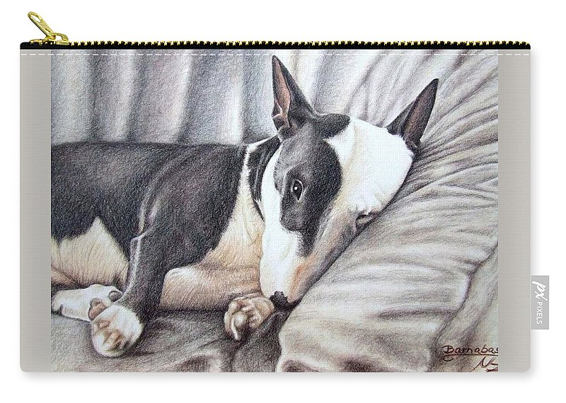 Dog Carry-all Pouch featuring the drawing Mini Bulldog Terrier by Nicole Zeug
