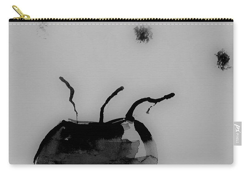 Black And White Art Carry-all Pouch featuring the mixed media Minimal Art by Britta Zehm