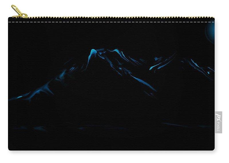 Digital Art Carry-all Pouch featuring the digital art Minimal Landscape Blue by David Lane