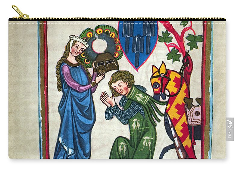 14th Century Carry-all Pouch featuring the photograph Minnesinger, 14th Century by Granger