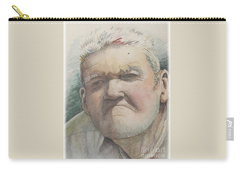 Portrait Carry-all Pouch featuring the painting Minnesota Farmer by Nadine Rippelmeyer