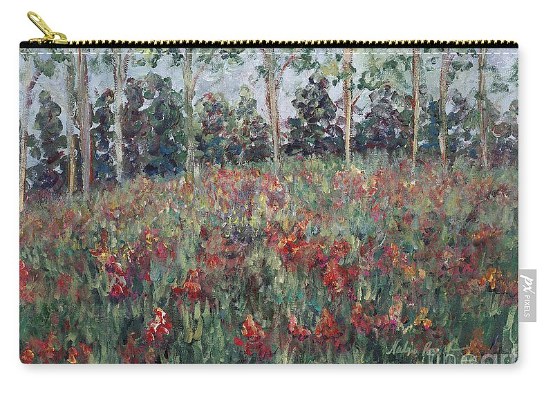 Landscape Carry-all Pouch featuring the painting Minnesota Wildflowers by Nadine Rippelmeyer