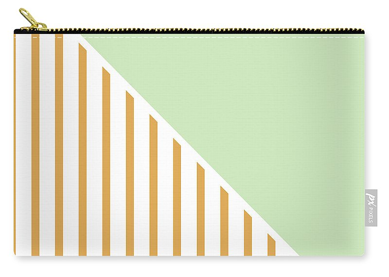 Mint Carry-all Pouch featuring the digital art Mint And Gold Geometric by Linda Woods