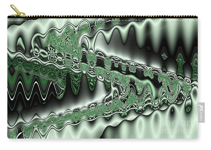 Abstract Carry-all Pouch featuring the digital art Mint Sine by Ron Bissett