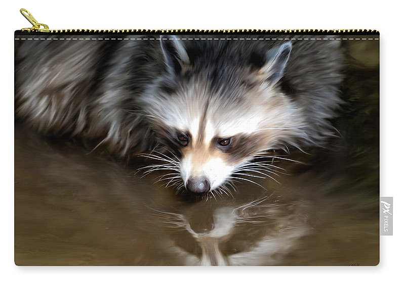 Racoon Carry-all Pouch featuring the painting Mirror by Johanne Dauphinais