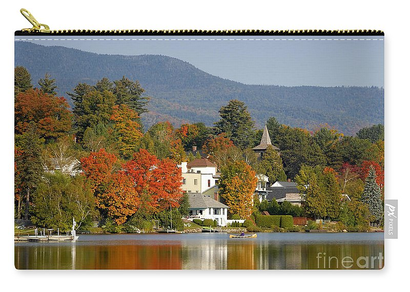 Adirondack Mountains Carry-all Pouch featuring the photograph Mirror Lake by David Lee Thompson