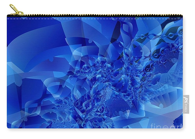 Fractal Art Carry-all Pouch featuring the digital art Mirrored Waves In Blue by Ron Bissett