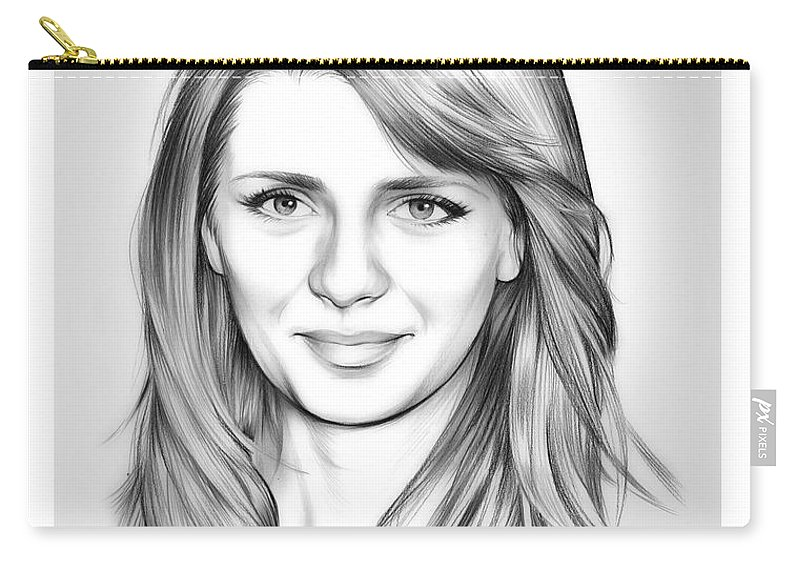 Mischa Barton Carry-all Pouch featuring the drawing Mischa Barton by Greg Joens