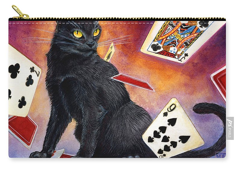 Cat Carry-all Pouch featuring the painting Mischief Kitten by Melissa A Benson