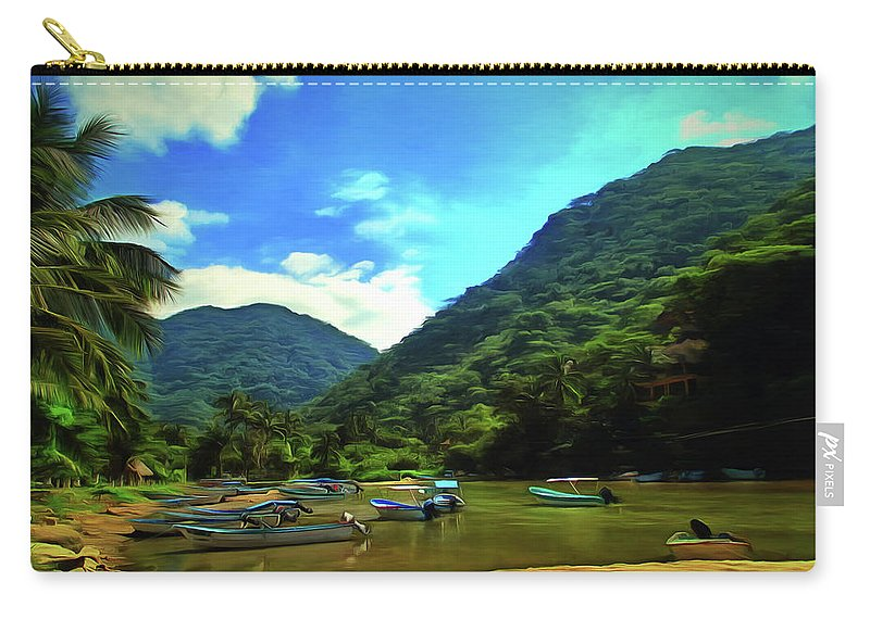 Landscape Carry-all Pouch featuring the painting Mismaloya River Fishing Boats 0344 by Lola VJ