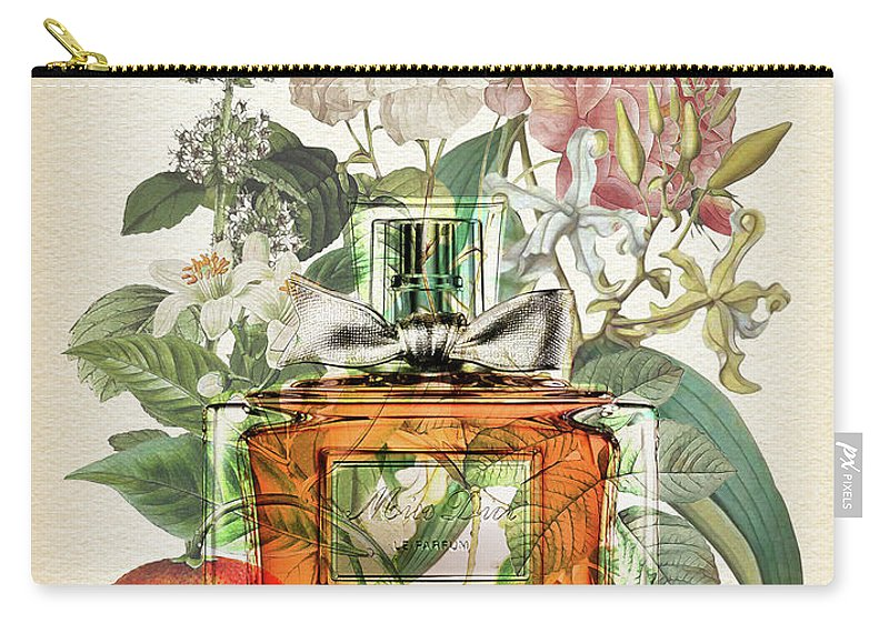 Dior Carry-all Pouch featuring the digital art Miss Dior Notes 1 - By Diana Van by Diana Van