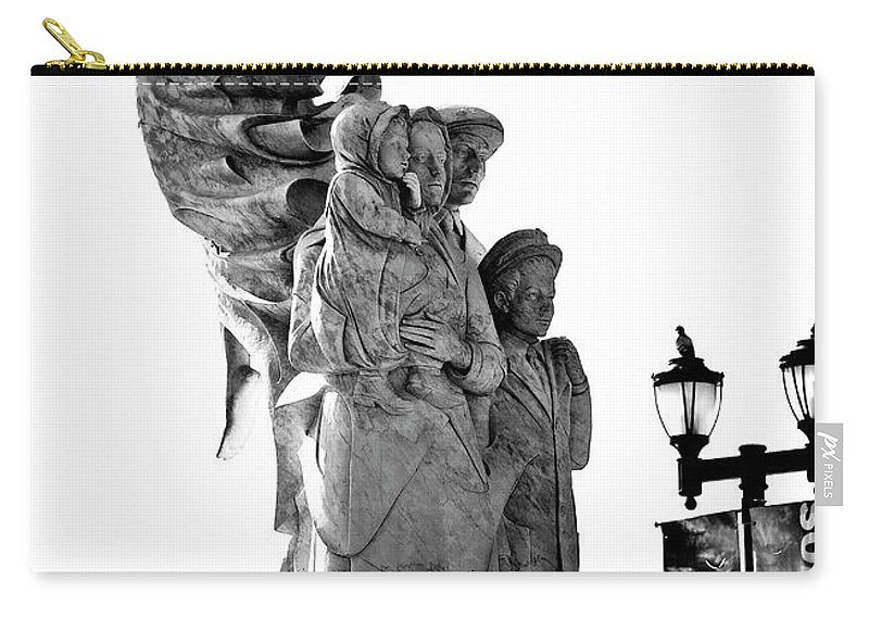 Black And White Carry-all Pouch featuring the photograph Miss Liberty And The Immigrant Family by Kathleen K Parker
