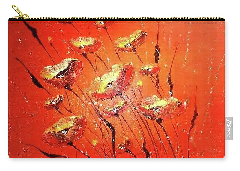 Miss Carry-all Pouch featuring the painting Miss Poppy by Agnieszka Adamska