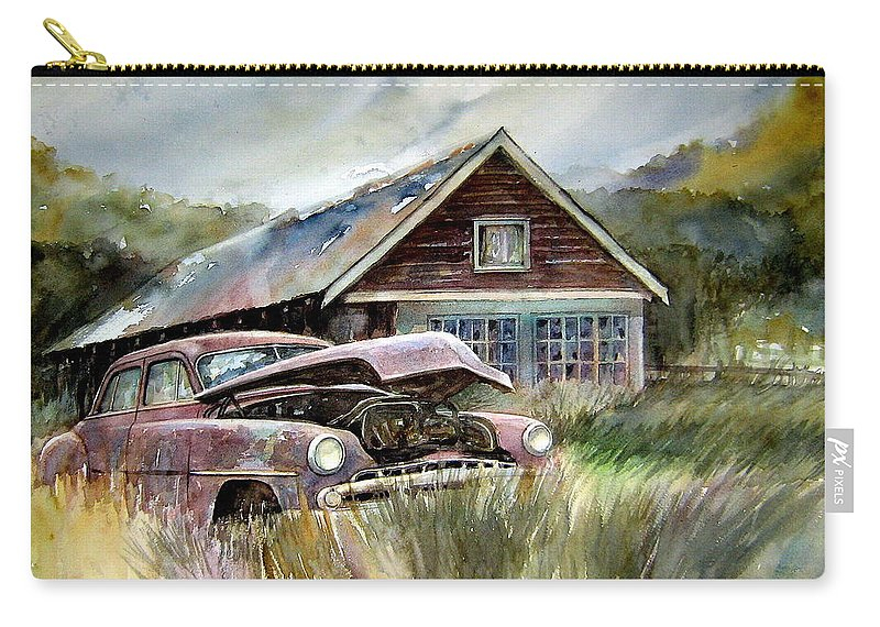 Car House Carry-all Pouch featuring the painting Miss Wilson's House by Ron Morrison