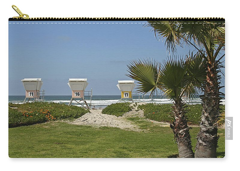 Beach Carry-all Pouch featuring the photograph Mission Beach Shelters by Margie Wildblood