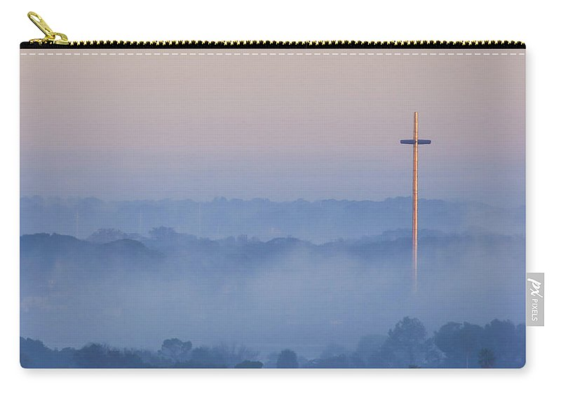 St Augustine Carry-all Pouch featuring the photograph Mission Cross In Fog At Sunrise by Jackie Hird