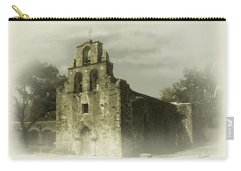 Digital Art Carry-all Pouch featuring the painting Mission Espada by Cliff Hawley