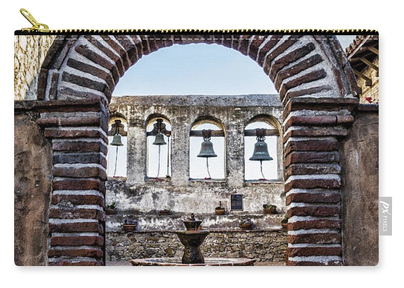 Capistrano Carry-all Pouch featuring the photograph Mission Gate And Bells by Stephen Stookey