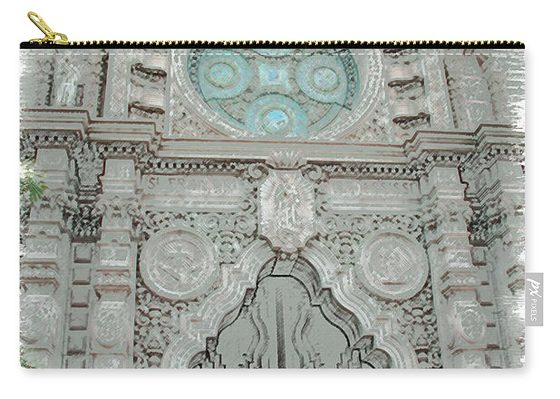 Mission Inn Carry-all Pouch featuring the digital art Mission Inn Chapel Door by Tommy Anderson