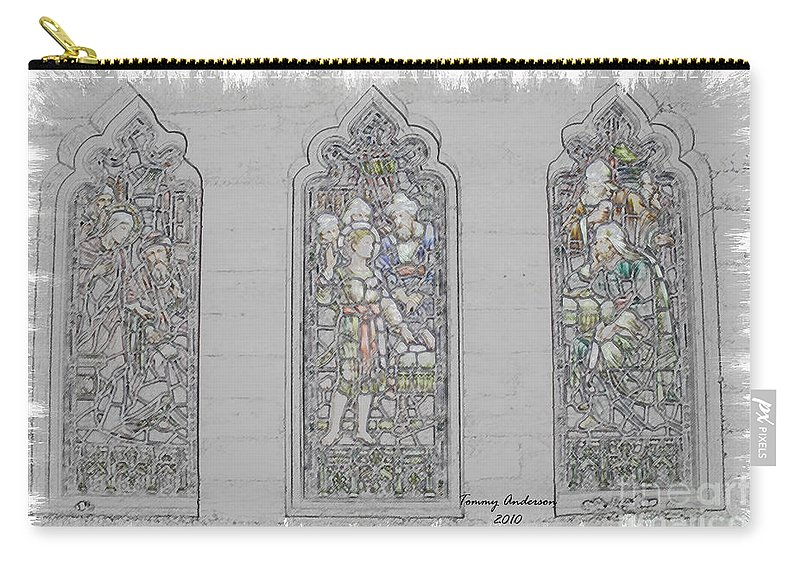 Mission Inn Carry-all Pouch featuring the digital art Mission Inn Chapel Stained Glass by Tommy Anderson
