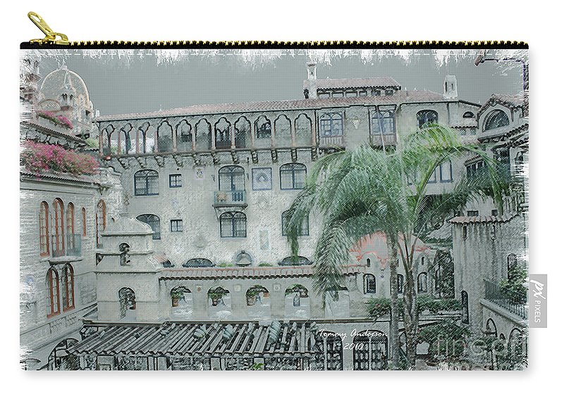 Mission Inn Carry-all Pouch featuring the digital art Mission Inn Court Yard by Tommy Anderson
