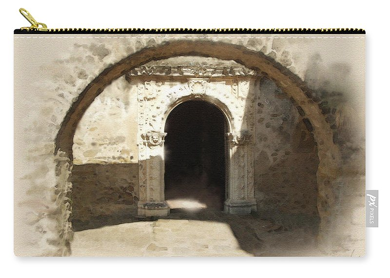 Digital Art Carry-all Pouch featuring the painting Mission San Jose Back Door by Cliff Hawley
