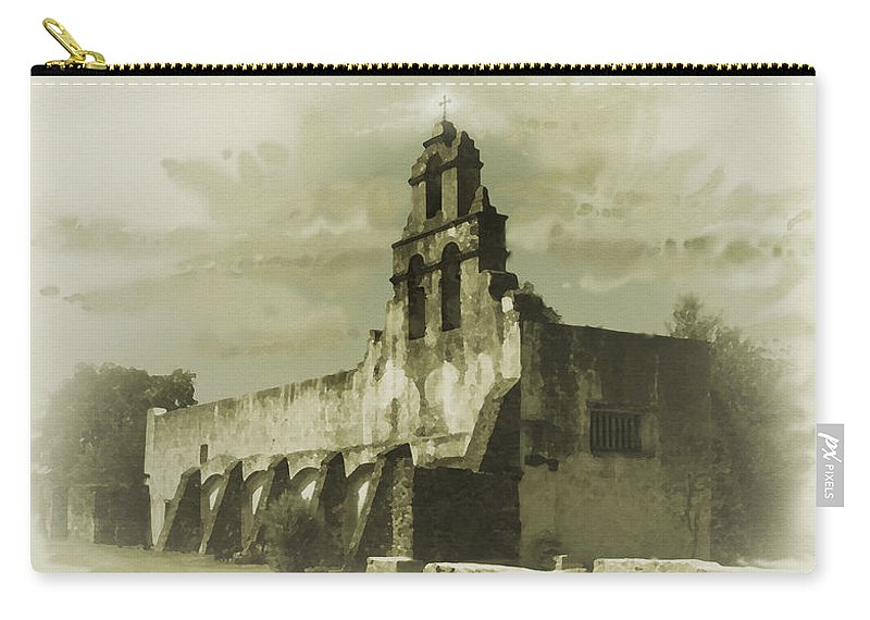 Digital Art Carry-all Pouch featuring the painting Mission San Juan by Cliff Hawley