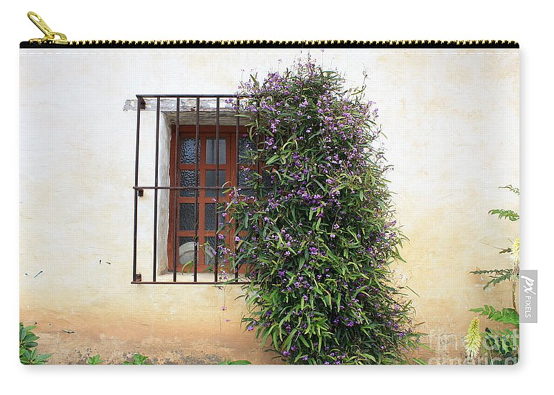 Purple Flowers Carry-all Pouch featuring the photograph Mission Window With Purple Flowers by Carol Groenen