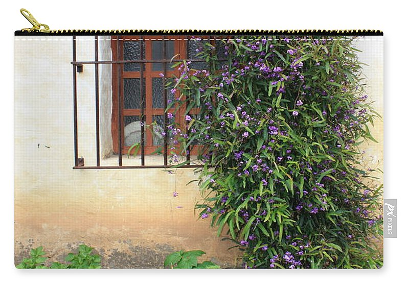 Mission Carry-all Pouch featuring the photograph Mission Window With Purple Flowers Vertical by Carol Groenen