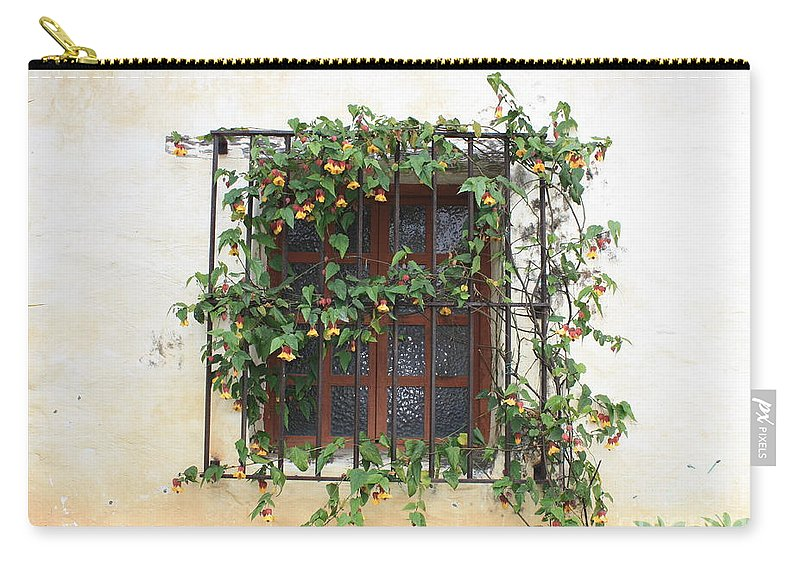 Window Carry-all Pouch featuring the photograph Mission Window With Yellow Flowers by Carol Groenen
