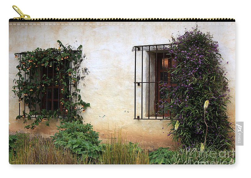 Vines Carry-all Pouch featuring the photograph Mission Windows by Carol Groenen