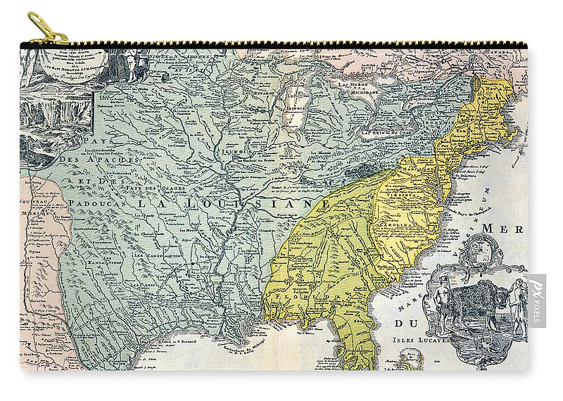 1687 Carry-all Pouch featuring the photograph Mississippi Region, 1687 by Granger
