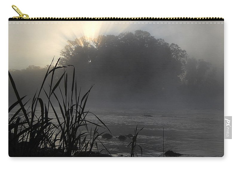 Mississippi River Carry-all Pouch featuring the photograph Mississippi River Dawn Sun Rays by Kent Lorentzen